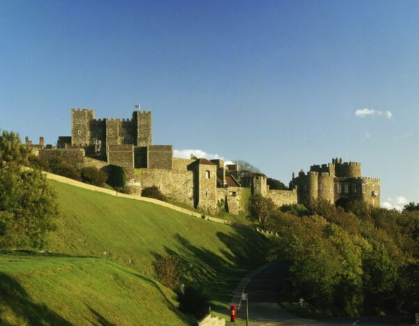 DOVER CASTLE, Kent. General view of the castle from the south west