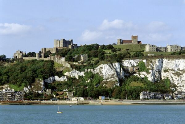 DOVER CASTLE, Kent. View of the cliff, castle, lighthouse and church from the sea