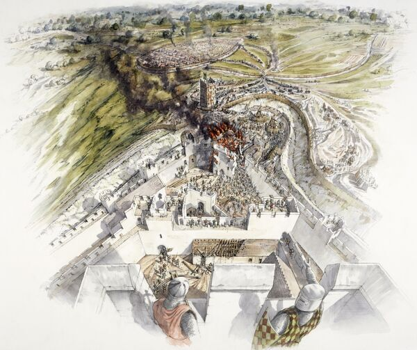 DOVER CASTLE, Kent. The siege of 1216. Reconstruction drawing by Peter Dunn, English Heritage Graphics Team, of the French attacking the collapsed East Tower & North gate
