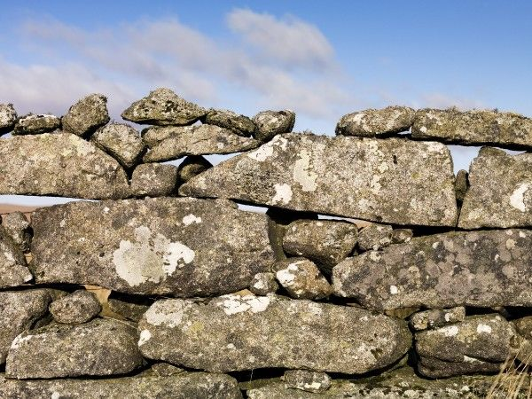 Detailed view of a dry stone wall found on Dartmoor