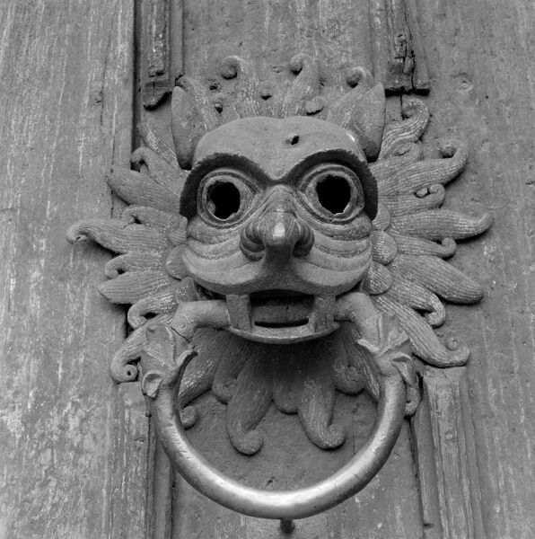 DURHAM CATHEDRAL, Durham. The famous Sanctuary door knocker on the north door of Durham Cathedral. The north door dates from 1140. Photographed by Eric de Mare between 1945 and 1980