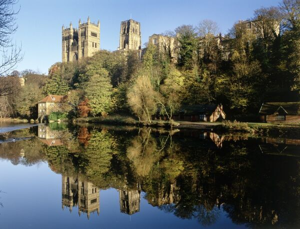 DURHAM CATHEDRAL, Durham. View of cathedral on hill by river. Built from 1073 to 1274