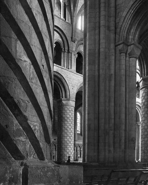 DURHAM CATHEDRAL, Durham. Interior view of Durham Cathedral from the north-east showing decorated piers in the nave and crossing. Photographed by John Gay during the 1960s