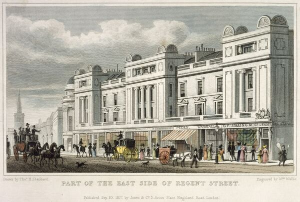 "MAYSON BEETON COLLECTION. ""Part of the East Side of Regent Street"" London from ""Metropolitan Improvements..."" by James Elmes 1827"