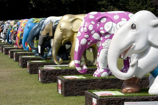Royal Hospital, Chelsea, London. The Elephant Parade was an open air art exhibition of decorated elephant statues