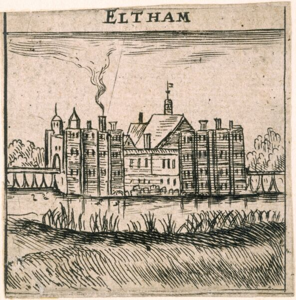 ELTHAM PALACE, London. A view, said to be by Peter Stent, of Eltham Palace just before the major demolitions in the 1650s. The queen's apartments are to the left and the king's to the right