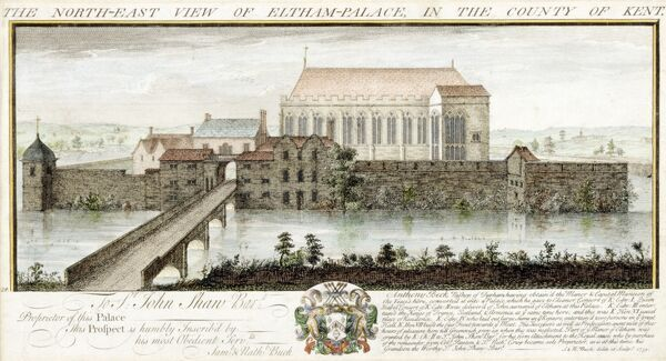 "ELTHAM PALACE, London. ""The North-East View of Eltham Palace in the County of Kent"" Coloured engraving by Samuel and Nathaniel BUCK 1735"