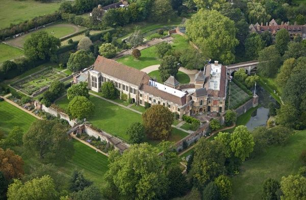 ELTHAM PALACE, Greenwich, London. Aerial view of Eltham Palace