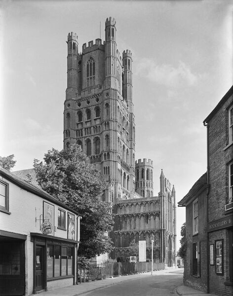 Ely Cathedral, Ely, Cambridgeshire. A view from Minster Place showing the north-west end of the cathedral. 'The Ship of the Fens'. Photographed by G B Mason for the National Buildings Record. c.1940s