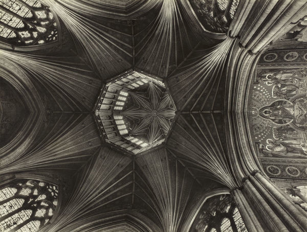 Ely Cathedral, Cambridgeshire. Interior view looking up to the Lantern. Photographed by Margaret F. Harker. c. late-1940s