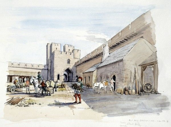 "ETAL CASTLE, Northumberland. ""The Gatehouse and Courtyard c.1513 "". A reconstruction drawing by Terry Ball (English Heritage Graphics Team)"
