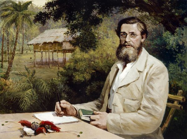 "DOWN HOUSE, Kent. ""A R Wallace"" by Victor Evstafieff ( Eustaphieff, Evstafiev ). Alfred Russel Wallace was a proponent of natural selection whose paper on the subject (1858) prompted Darwin to publish ""On the Origin of Species"" (1859)"