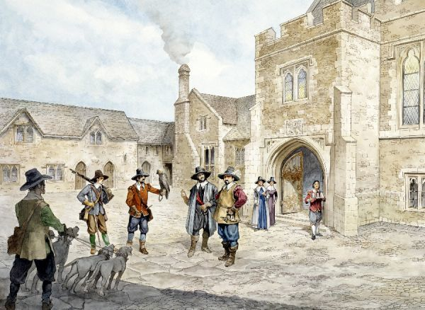 FARLEIGH HUNGERFORD CASTLE, Somerset. Reconstruction drawing by Philip Corke of the inner court in c1660