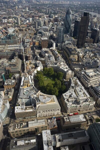 FINSBURY CIRCUS, London. Aerial view of the circus surrounded by the City landscape