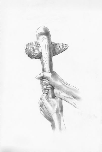 A drawing, by Judith Dobie, depicting a reconstruction of Flint Axe F.III, excavated at Grime's Graves, Norfolk