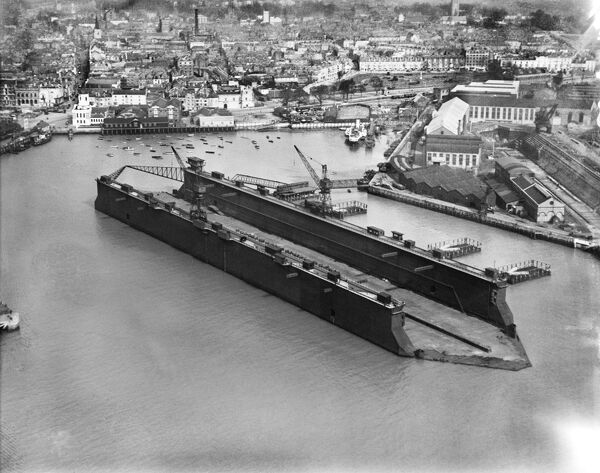 Aerial view of floating dock, Southampton, Hampshire. Photographed by Aerofilms, 16th March 1928