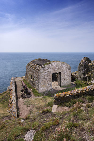 Fog Battery, Ackland's Moor, Lundy Island, Devon. The fog signal station, constructed by Trinity House in 1863 when the limitations of the Old Lighthouse (constructed 1819-20), when thick fog covered the island, were recognised. It was constructed of dressed