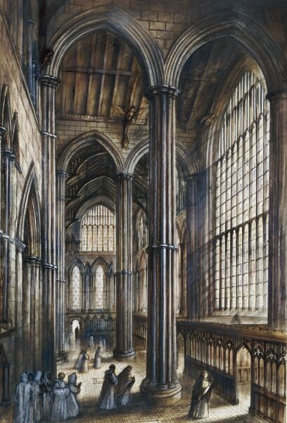 FOUNTAINS ABBEY, North Yorkshire. Interior reconstruction drawing by Alan Sorrell