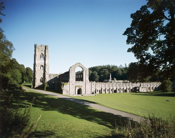 FOUNTAINS ABBEY, North Yorkshire. General exterior view of the Cistercian abbey, which was founded in 1132