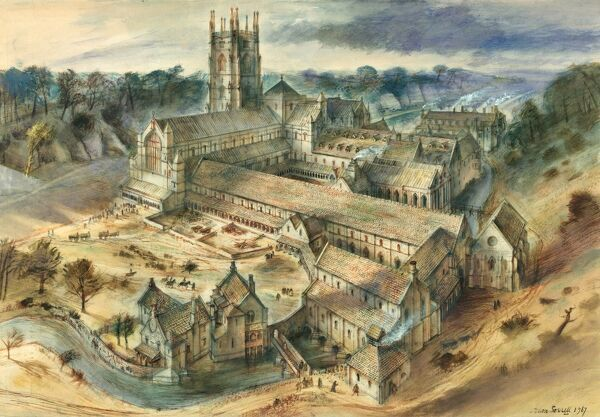 FOUNTAINS ABBEY, North Yorkshire. Reconstruction drawing by Alan Sorrell