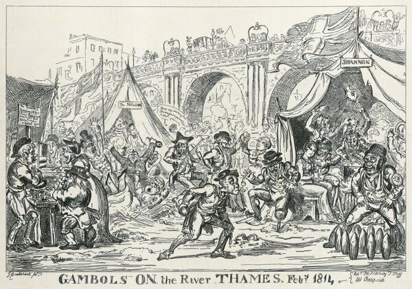 "RIVER THAMES, London. ""Gambols on the River Thames, Feb 1814"". Cartoon etching by Cruikshank. From the Mayson Beeton Collection"
