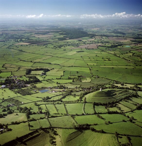 GLASTONBURY TOR, Somerset. Aerial view of the tor and surrounding countryside, reputedly the Isle of Avalon
