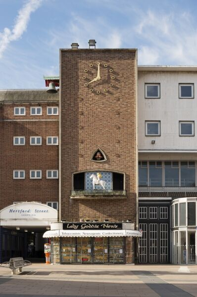 Broadgate House, Broadgate, Coventry, West Midlands. Exterior, viewed from the north showing Lady Godiva and the Peeping Tom who appear on the hour