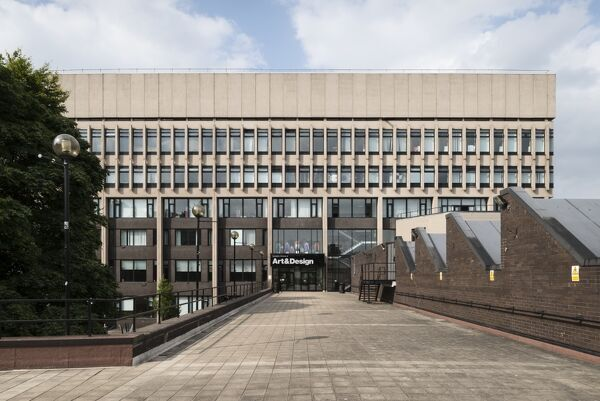 Coventry University Graham Sutherland Building, Cox Street, Coventry, West Midlands. Exterior, viewed from the south