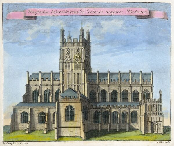 "MAYSON BEETON COLLECTION. Great Malvern Priory, Worcestershire. ""Northern view of the church of Great Malvern"" by Joseph Dougharty. Line coloured engraving dated 1730"