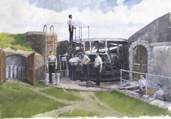 PENDENNIS CASTLE, Falmouth, Cornwall. Reconstruction drawing by Ivan Lapper of the 6-inch 'disappearing gun' in One Gun Battery as it may have appeared in about 1900