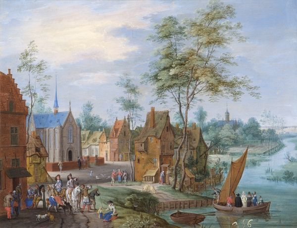 "APSLEY HOUSE ""A Flemish Village with River View"" by Peeter GYSELS (1621-1691). WM 1636-1948"