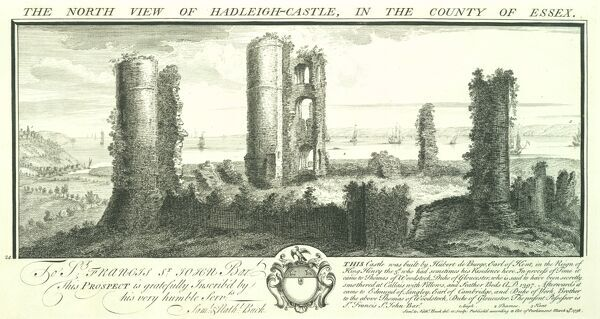 HADLEIGH CASTLE, Essex. 'The North view of Hadleigh Castle in the county of Essex' by Samuel and Nathaniel Buck, 1738