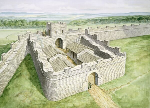 HADRIAN'S WALL: CAWFIELDS, Northumberland. Cawfields Milecastle reconstruction drawing by Philip Corke. hadrian