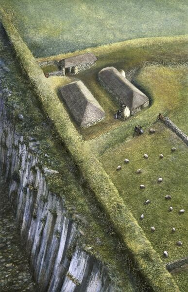 HADRIAN'S WALL: SEWINGSHIELDS WALL, Northumberland. Reconstruction drawing of medieval milecastle by Frank Gardiner (English Heritage Graphics Team). hadrian