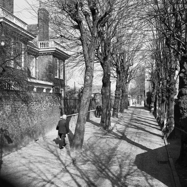 HAMPSTEAD GROVE, London. A street view showing the pollarded trees in winter with Fenton House to right and people walking on the pavement outside. Photographed by John Gay. Date range: January 1962 - May 1964