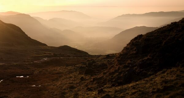 HARDKNOTT PASS, Lake District, Cumbria. Landscape views with Roman fort in far distance