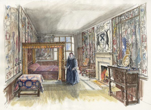 HARDWICK OLD HALL, Derbyshire. Reconstruction drawing by Liam Wales of the Best Bedchamber on the 3rd floor in 1601