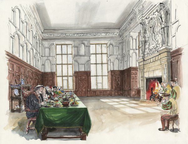 HARDWICK OLD HALL, Derbyshire. Reconstruction drawing by Liam Wales of the Hall's Great Chamber in 1601