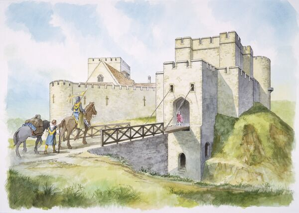 HELMSLEY CASTLE, North Yorkshire. Reconstruction drawing by Philip Corke of the South Gate in the 13th century. Drawbridge, knight, page / squire