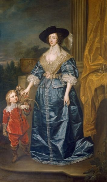 "MARBLE HILL HOUSE, Richmond-upon-Thames, Greater London. ""Queen Henrietta Maria and the Dwarf Sir Jeffrey Hudson"" after Sir Anthony VAN DYCK (1599-1641). Henrietta-Maria (1609-69) was daughter of Henri IV of France and wife of Charles I of England"