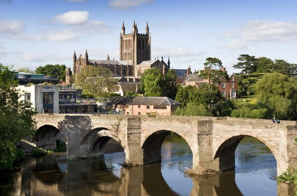 HEREFORD CATHEDRAL, Herefordshire. View across the river Wye towards the Cathedral