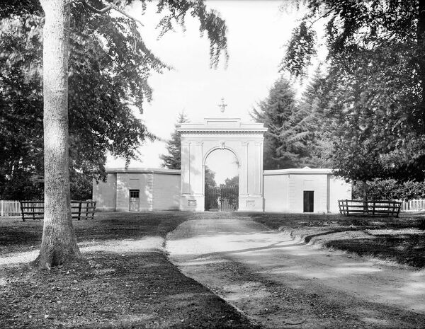 Highclere Castle, Entrance Gate, Highclere, Hampshire. A large classical style gateway leading into the park from London Road. Photographed by Henry Taunt, late 19th century