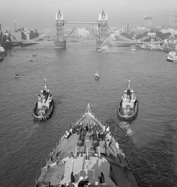 TOWER BRIDGE, Stepney, London. Looking down onto the foredeck of the cruiser HMS Belfast
