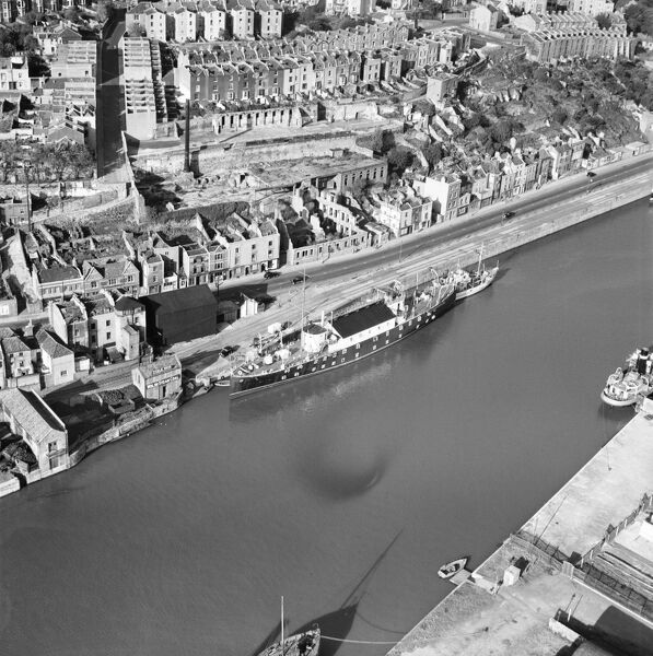 HMS Flying Fox (Royal Naval Reserve) moored off Hotwell Road, Bristol. Photographed by Aerofilms Ltd in October 1950