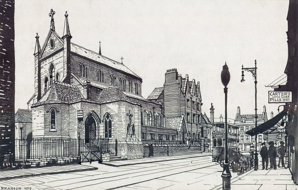 Most Holy Trinity Church, Bermondsey, London. Pen and ink sketch, by Peter Anson, of the exterior from the street with people and tram. 1939