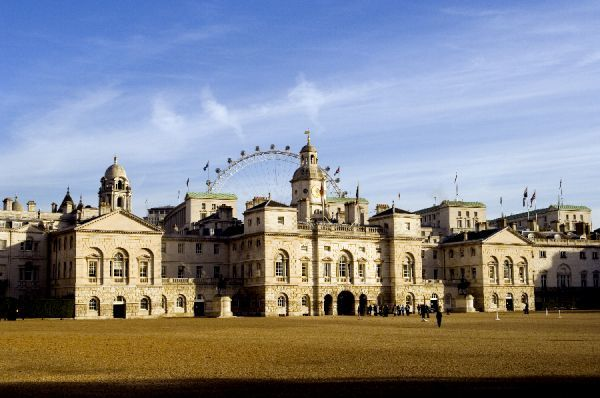 HORSE GUARDS, Whitehall, London. General view across the parade ground with the London Eye in the background. Horse Guards was designed by William Kent in the Palladian style and built by John Vardy between 1751-1753