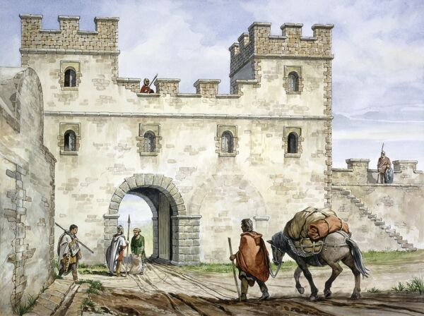 HADRIAN'S WALL: HOUSESTEADS ROMAN FORT (VERCOVICIUM), Northumberland. A reconstruction drawing of the east gate (porta praetoria) by Philip Corke. hadrian