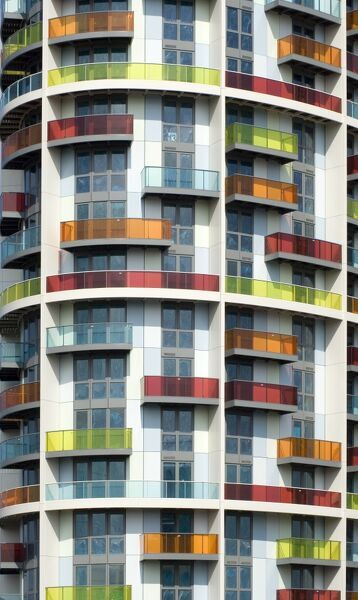 ICONA BUILDING, London Olympics 2012 site, London. Exterior detail of the residential flats