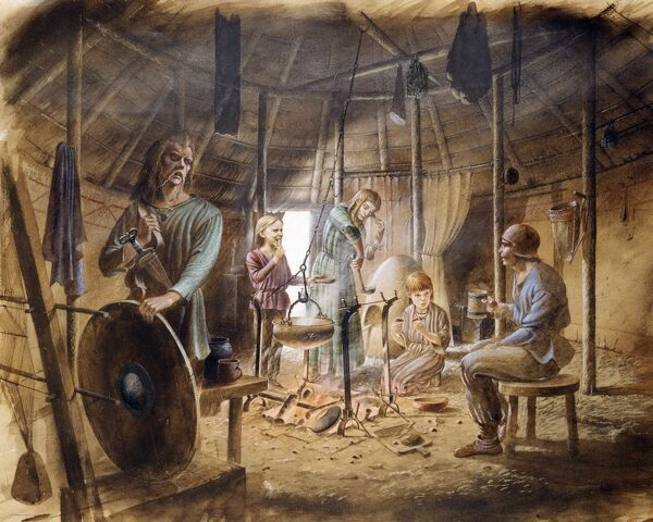 MAIDEN CASTLE, Dorset. Reconstruction drawing of interior of hut showing family life in the Iron Age