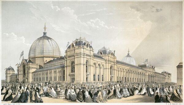 INTERNATIONAL EXHIBITION OF 1862, Kensington, London. The exhibition building. Aston Bragg delin. Lithograph in black and tints from the Mayson Beeton Collection